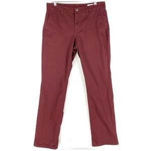 Bonobos Washed Chino Pants Red Straight 32 X 32